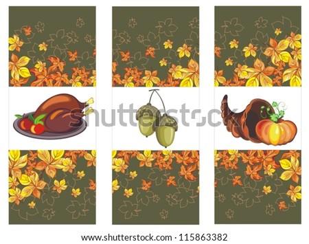 Set with Horn of Plenty, pumpkin and acorns - stock vector
