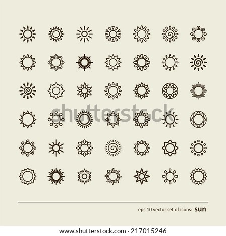Set with icons - the sun. A vector.