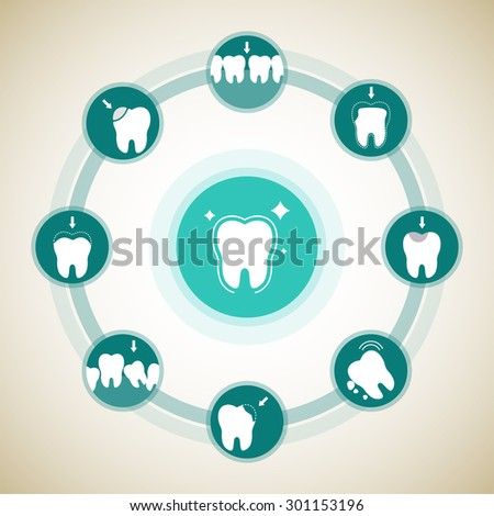 Set with illness teeth and on healthy tooth. Medical concept. Vector flat stomatology illustration. - stock vector