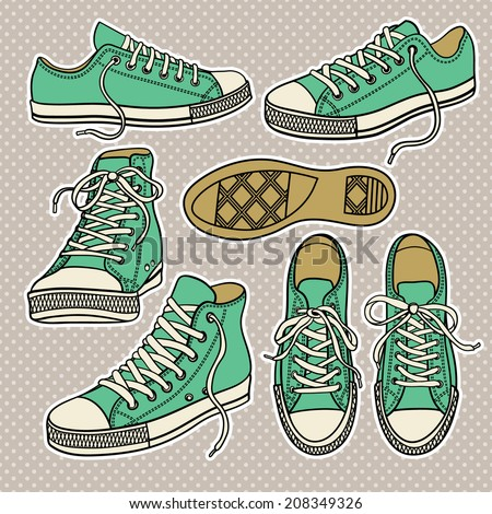 set with isolated sneakers isolated - stock vector