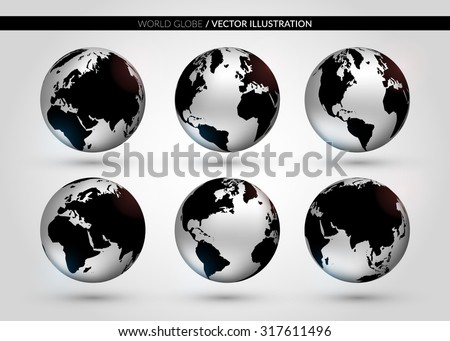 Set with metallic world globe in different foreshortening. Vector illustration. EPS 10