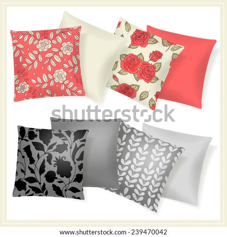 Set with pillows. Home Collection. - stock vector