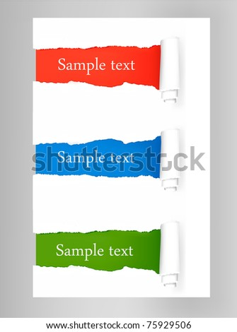 Set with ripped colored paper stickers. Vector illustration - stock vector