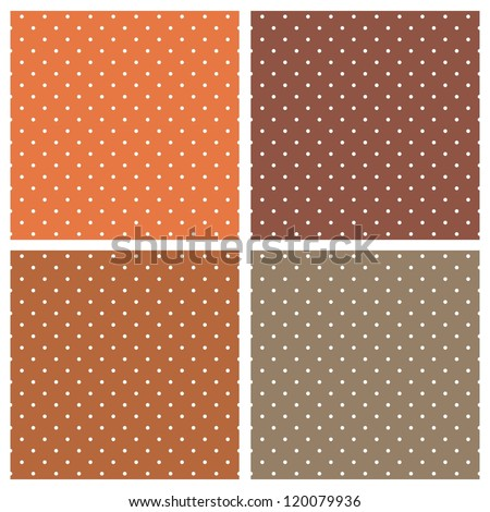 Set with seamless vector patterns or textures with white polka dots on dark and light brown background. For invitations, websites, wallpaper, desktop, cards, background, web design, art - stock vector