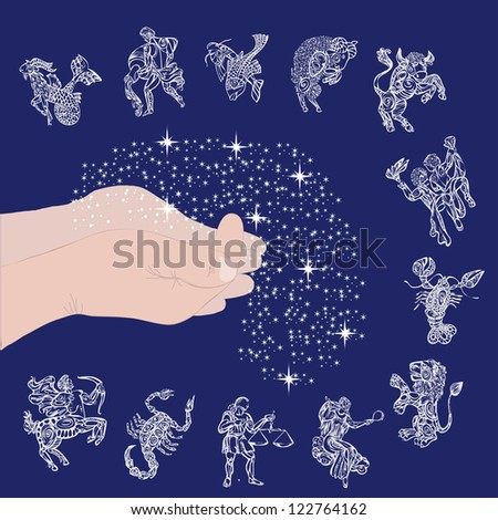set with signs of zodiac on starry sky and hands with stars - stock vector