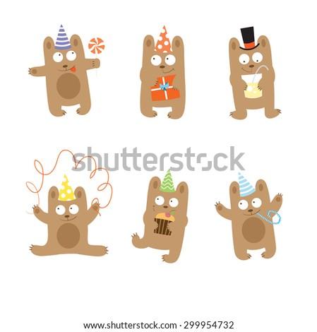 Set with six cute cartoon bears,  set to birthday. - stock vector