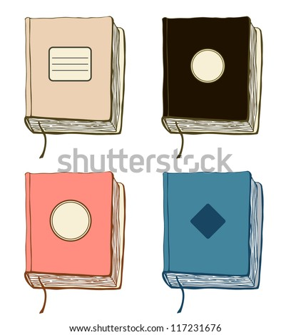 Set with sketches of books. Vector collection of hand drawn covers. Copybooks templates - stock vector