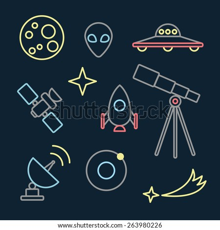 Set with space objects, telescope, stars, flying saucer