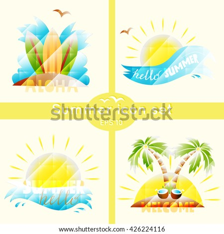Set with summer elements - palm tree, sun, wave, beach, board for surfing. Hello summer. Vector icon 3d. - stock vector