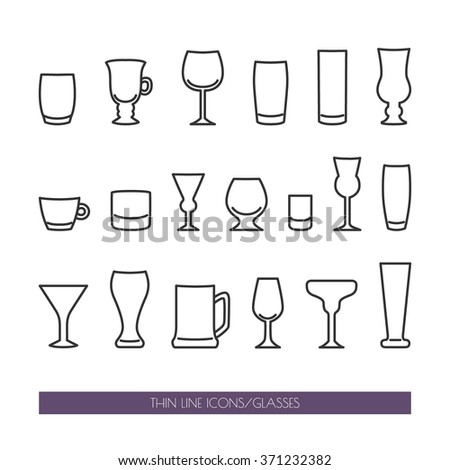 Set with thin line icons with different kind of glasses. Vector illustration. EPS 10