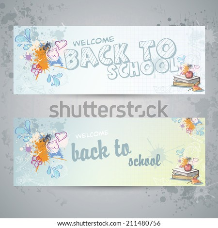 Set with two horizontal banners with school books and apple - stock vector