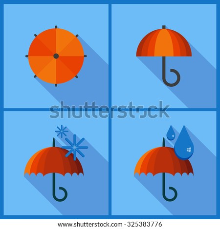 Set with umbrella icons. Flat style with long shadow - stock vector