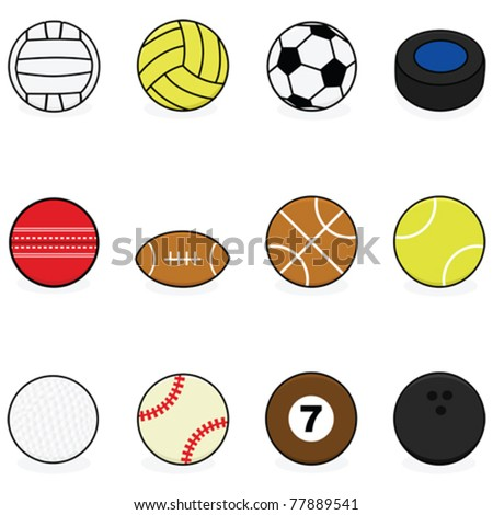 Set with vector cartoon balls for different sports: volleyball, water polo, soccer, hockey, cricket, football, basketball, tennis, golf, baseball, billiards and bowling - stock vector