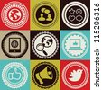 Set with vector round retro labels with social media and internet icons - stock vector
