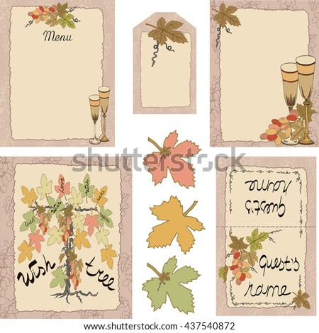 """Set with  vine and grape leaves. Menu, invitation, guest card, """"Thank you"""" tag, wish tree in frame. It can be used for wedding, birthday, anniversary, celebration, event. Vector. - stock vector"""