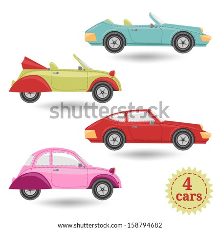 set with vintage cars - stock vector