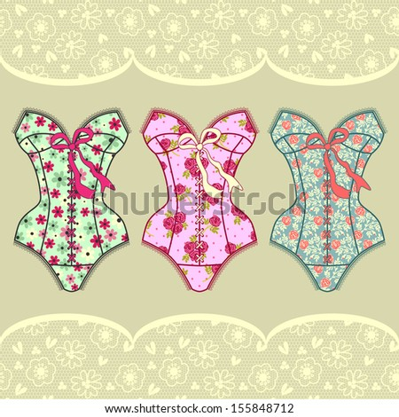Set with vintage corsets - stock vector