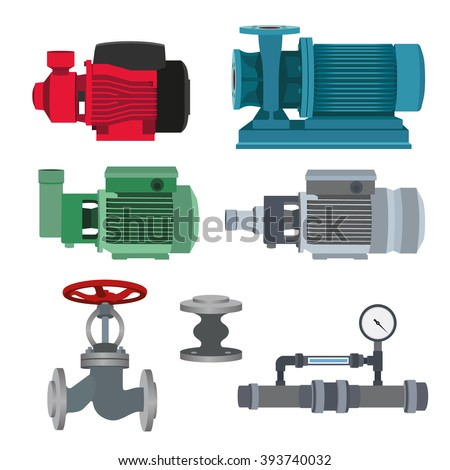Set with water motor, pump and valves for pipeline. Vector illustration - stock vector