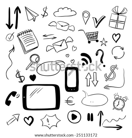 Set with web doodles, sketch style vector