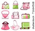 set woman's bags vector - stock vector