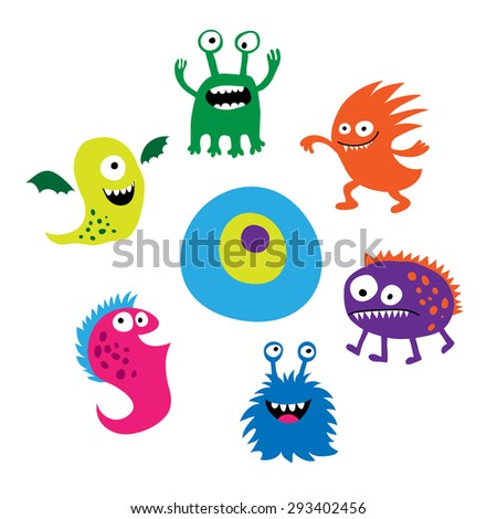 Seth bright funny cute monsters - stock vector