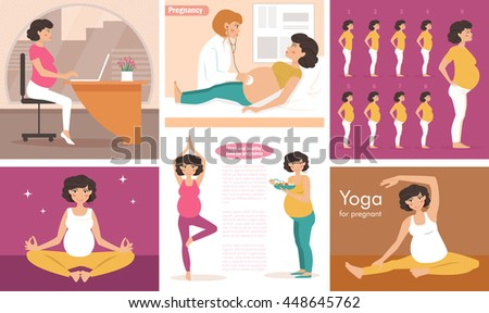 Seth with pregnant women. Vector illustration in flat style. Image for booklets, brochures, flyers, websites. Cartoon character. Health, medicine, nutrition, yoga, work - stock vector