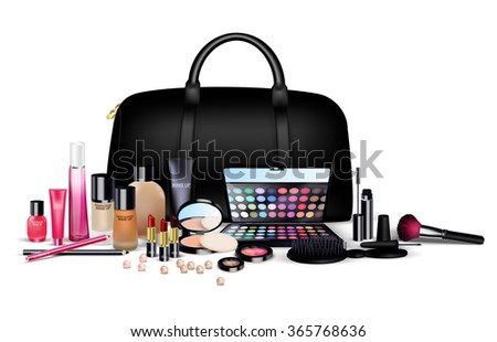 Sets of cosmetics on isolated background. Stylish girls.vector - stock vector