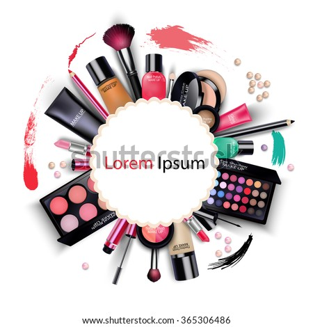 Sets of cosmetics on isolated background.vector - stock vector
