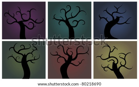 Sets of creepy tree in abstract swirly style - stock vector