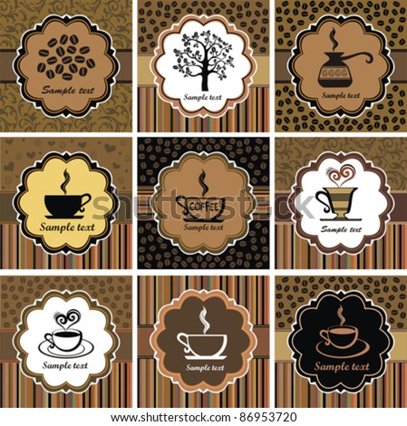 sets of label design. Menu for restaurant, cafe, bar, coffeehouse. Vector Illustration - stock vector
