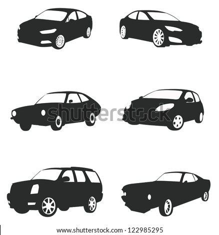 Sets of silhouette cars and on the road vehicle icon in isolated background, create by vector.