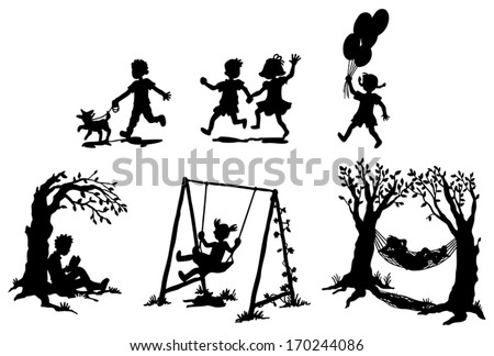 Sets of silhouette children boy and girl in action expression and relaxation with toy pet or leisure item icon set, create by vector  - stock vector