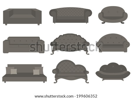Sets of sofa, vector illustration, furniture for an interior. - stock vector