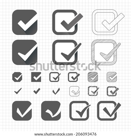 Sets of vector tick or markers check on the sheet in the box. Executed in different styles. chalk, shading, pencil, pen, flat, fill. School theme. - stock vector