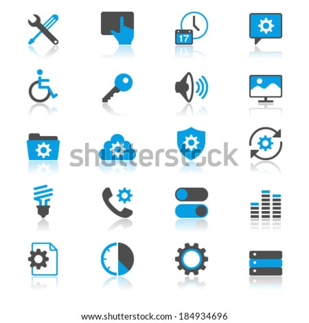 Setting flat with reflection icons - stock vector