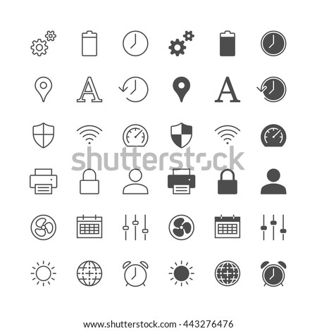 Setting icons, included normal and enable state. - stock vector