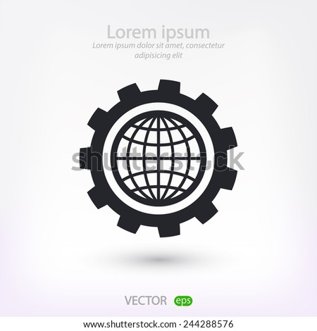 setting parameters, globe Icon vector illustration. Flat design style  - stock vector
