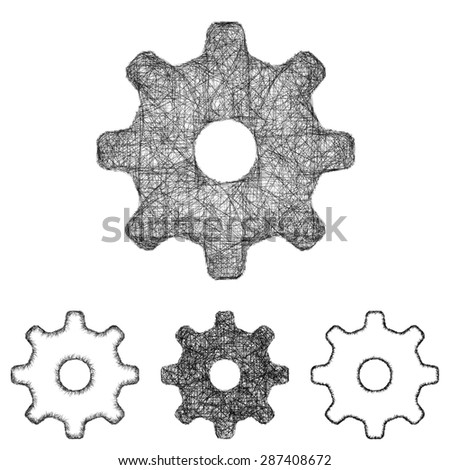 Settings, cogwheel icon design set - sketch line art - stock vector