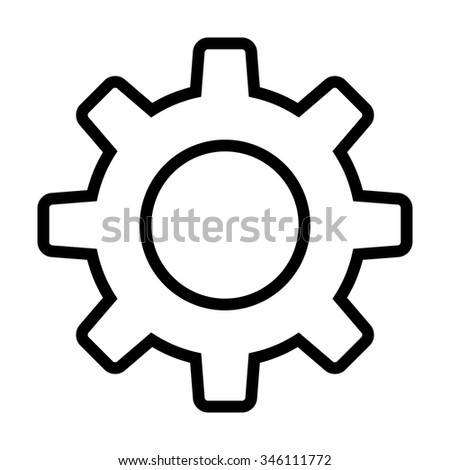 Settings gear / line art icon for apps and websites - stock vector