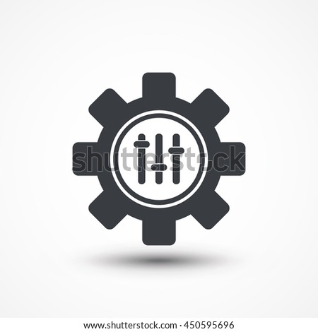 Settings icon, gear within sliders, cog sign. Eps10, JPEG, Picture, Image, Logo, Sign, Design, Flat, App, UI, Web, Art, Vector, Solid Style - stock vector