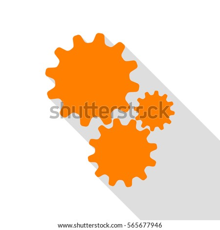 Settings sign illustration. Orange icon with flat style shadow path.
