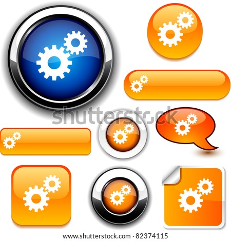 Settings vector glossy icons. - stock vector
