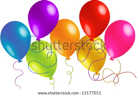 Seven Beautiful Party Balloons Vector - stock vector