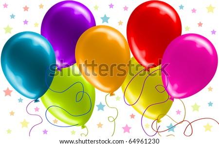 Seven Beautiful Party Balloons Vector (No Transparency!!) - stock vector
