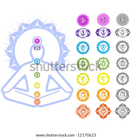 Seven Chakras  and spirituality symbols - stock vector