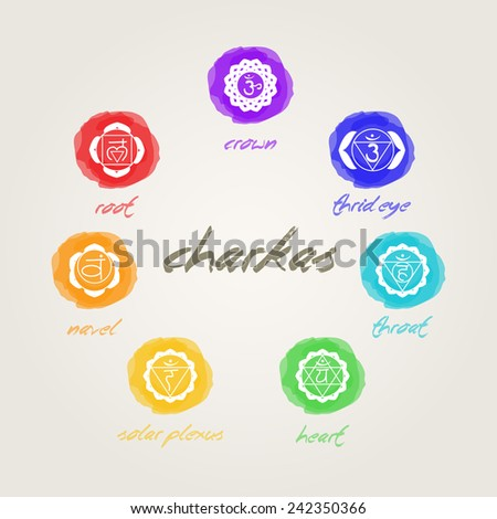 seven chakras signs in harmony - stock vector