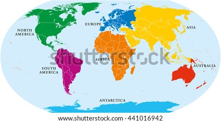 Seven continents world map. Asia, Africa, North and South America, Antarctica, Europe and Australia. Detailed map with shorelines and national borders under Robinson projection on white background. - stock vector