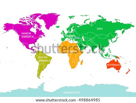 Seven continents world map north america stock vector 498864985 seven continents world map north america south america europe africa asia gumiabroncs