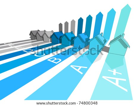 seven+extra one houses certified in eight energetic classes (+ extra A+ ?? class for the extraordinary buildings) - colors of Environmental impact rating (CO2) - stock vector