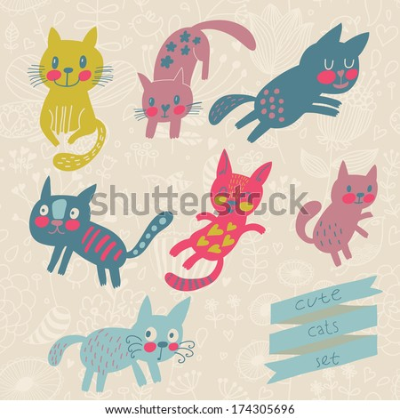 Seven funny kittens in cartoon style. Cats smiling and playing in vector set. Childish illustration - stock vector